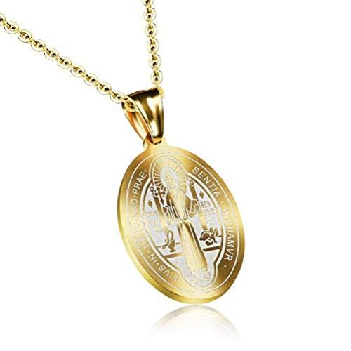 MingXinJia Christliches Katholisches Kreuz Anhänger Titan Stahl Weibliche Halskette Orientalischen Religiösen Schmuck, Gold
