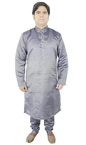 RoyaltyLane indische herren pyjama obere langarm stickerei tunika kleider Schwarz M (Kurta Gestreiften)