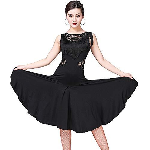 Tanz Adult Kostüm Medium - Damen tanzkleid Frauen Latin Tango Rumba Dance Kleid ärmellose Blumenspitze Splice Quasten Ballsaal Dancewear Adult Performance Wettbewerb Tanz Kostüme Tanzkleid ( Farbe : Schwarz , Größe : M )