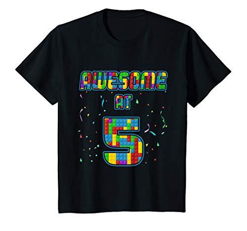 Kinder 5 Jahre Alt Geschenk 5. Geburtstag Bausteine Ziegel Blöcke T-Shirt (Blue-outfits Und Red Mädchen White)