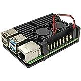 Moonmen Raspberry Pi 4 Aluminum Case with Fan, Metal Shell Case Kit with Dual Cooling Fan & Heat Dissipation Heatsink for Pi