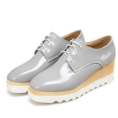 AllhqFashion Damen Rein Mittler Absatz Schnüren Quadratisch Zehe Pumps Schuhe Grau