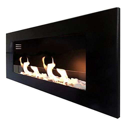 Chimenea de gel bioetanol Mierzwa modelo TCP, incluye cristal de seguridad, juego de piedras decorativas y extintor de llama de acero inoxidable, Negro