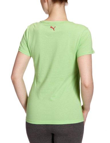 Puma T-shirt avec grand logo en coton biologique pour femme Vert/rouge