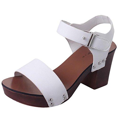 Webla Mode Sandalen Frauen Pumps High Heels Schuhe Damen Schuhe Damen T-Spangen Sandalen Weiß