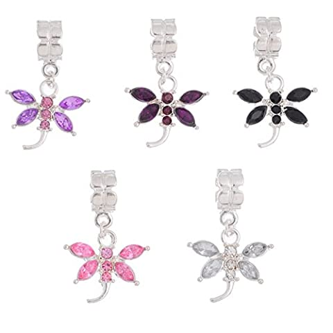 HOUSWEETY 10PCs Mixed Dragonfly Dangle Beads Fit Charm Bracelet B10655