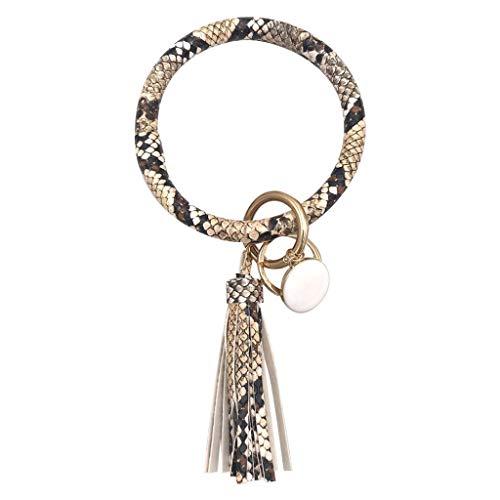 ❤ Inawayls❤ Oversize Leder Schlüsselringe Mode Schlüsselanhänger Ring Connector Schlüsselbund mit Quaste -