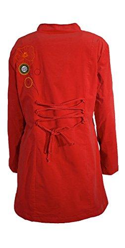 Coline - Manteau mi-long à fleurs brodées Rouge