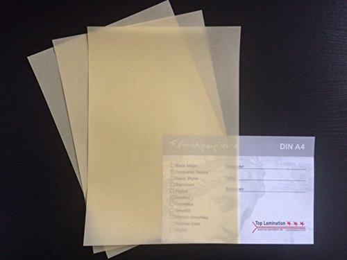 50 Blatt DIN A4 Transparentpapier Zanders Spectral creme/gelb 100g/m² exzellente Durchsicht, sehr gute Qualität, mögliche Verwendung: Einladungen, Visitenkarten, Einlegeblätter für Alben, Fotoalben, Fensterbilder, Bastelarbeiten und vieles mehr