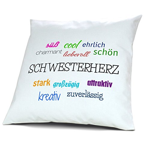 Kopfkissen mit dem Namen Schwesterherz, Kissen mit Füllung - Positive Eigenschaften, 40 cm, 100% Baumwolle, Kuschelkissen, Liebeskissen, Namenskissen, Geschenkidee