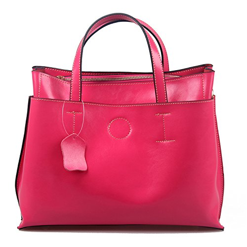 Sheli Office Lady Large Square Top End Leather Handbag Tote for PC, Tablet, Work (Cabrio : Metallic-leder Handtasche)