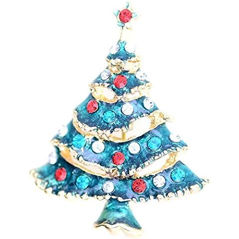 Lizzyoftheflowers–oro tono esmalte verde árbol de Navidad broche bolsa Pin, Xmas Star en la parte superior