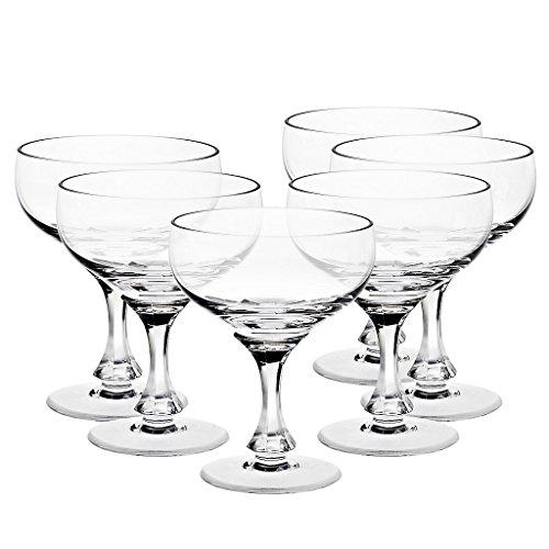 6 x Sektschale, Sektglas, Sektkelch, Champagnerglas DIAMOND 200ml, transparent, Bleikristall Glas, moderner Style (GERMAN CRYSTAL powered by CRISTALICA)