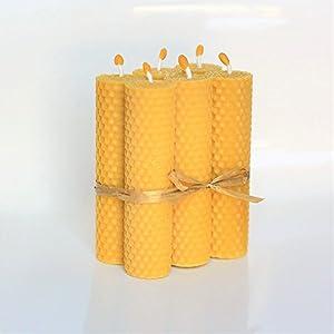 100% Reines Bienenwachskerzen 6 Kerzen Set Größe 13 x 3 cm Ökologische kerzen Natürlichen Honigduft 100% Handarbeit