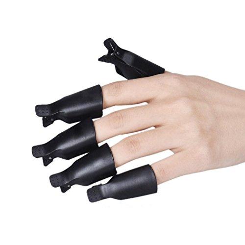 Beauty Werkzeug Forh 10 Stück Kunststoff Nagel Kunst Soak Off Klammer Cap UV Gel Polieren Remover Wrap Werkzeug Wickeln Nail Tool Nagelstudio Tool (Schwarz)