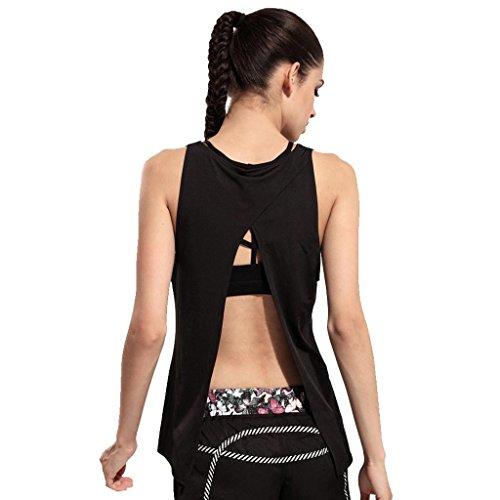 Back Cowl Top (Wgwioo Frauen Blusen Weste Ärmellos Casual T-Shirt Tops Yoga Sport Super Soft Cowl Leichtes Open Back Workout Ärmellos T-Shirts Black M)