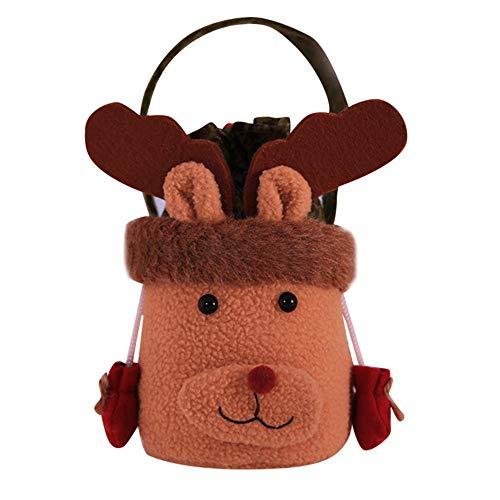 (Niedliche weiche Kinder Weihnachten Santa Schneemann Cartoon Muster Tasche Candy Tasche Clutch, Baby Mädchen Jungen Cartoon Aufbewahrungsbeutel Handtaschen, Weihnachten Dekoration coffee)