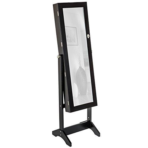 TecTake Spiegelschmuckschrank mit extra großem Spiegel - Diverse Farben - (Schwarz | Nr. 400765)
