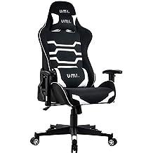 Umi. by Amazon - Sedia Gaming Ufficio da Scrivania Poltrona Ergonomica Sedie da Gaming Tessuto con Supporto Lombare e Poggiatesta, Colore Bianco
