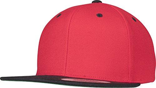 Flexfit Yupoong Unisex Kappe Classic Snapback 2-Tone, Zweifarbige Blanko Cap mit Geradem Schirm, One Size Einheitsgröße für Männer und Frauen, Farbe Red/blk