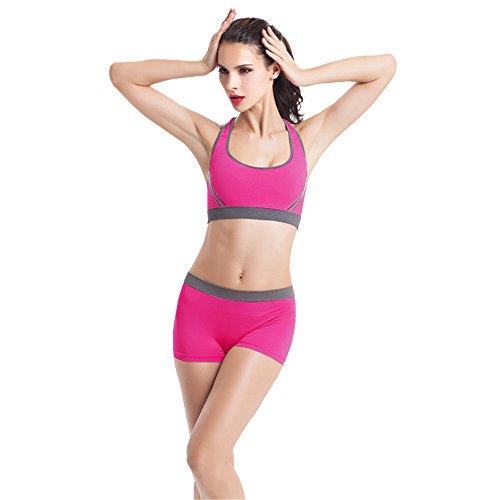 Femmes Yoga Vest Ularmo Femmes Yoga rembourré dos nageur de soutien-gorge de sport short Vest Gym Fitness Set Rose vif