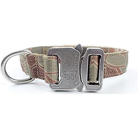 Yisibo Collare per cani tattico militare di addestramento regolabile Harness Molle Nylon collare di cane al guinzaglio con manico in acciaio con fibbia Kryptek Man Drake(1,0