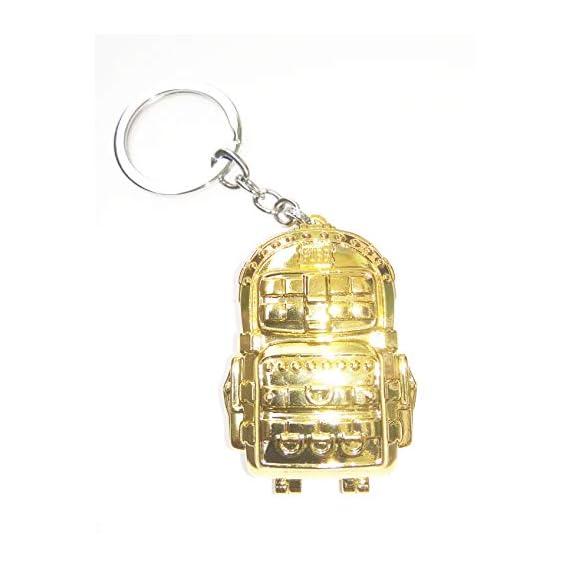 Generic Golden Backpack School Bag Keyring