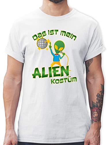 Karneval & Fasching - Das ist Mein Alien Kostüm Disco - L - Weiß - L190 - Herren T-Shirt Rundhals