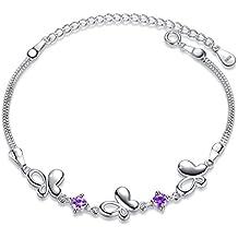Fashmond Bracelet Argent 925 femme fille Papillon Améthyste avec un écrin cadeau- Idée Cadeau Saint Valentin Anniversaire
