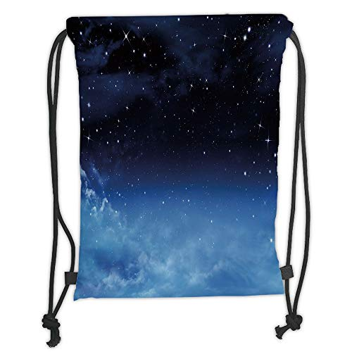 Juzijiang Drawstring Sack Backpacks Bags,Night Sky,Ombre Colored Nebula Space Clouds and Dot Like Stars Image,Dark Blue Turquoise and White Soft Satin Closure,5 Liter Capacity,Adjustable. -