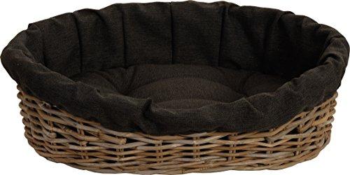 hundeinfo24.de Hundekorb / Katzenkorb GRAU aus Natur-Rattan mit schwarzem Überzugs-Polster, Hundebett / Katzenbett oval L (65x53cm)