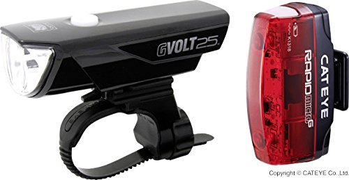 Cateye GVolt 25 Rapid Micro Beleuchtungsset, schwarz/Rot, One Size
