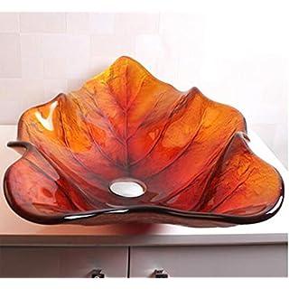 Cuarto de baño en Forma de hoja de vidrio templado guardarropa Contra artística Talla Superior lavabo BWY-1645 001