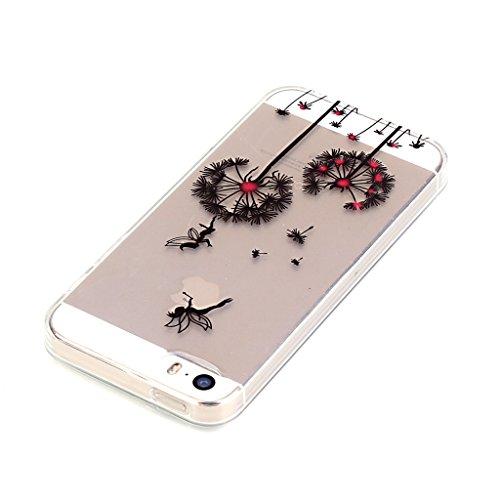 iPhone 5s Hülle,iPhone SE Hülle,iPhone 5 TPU Hülle,Fodlon® Ultra dünn Tropfenschutz / Shock-Absorption mit Anti-Scratch Silikon-TPU-Fall-Abdeckung für iPhone 5 5s SE-Traumfänger Löwenzahn
