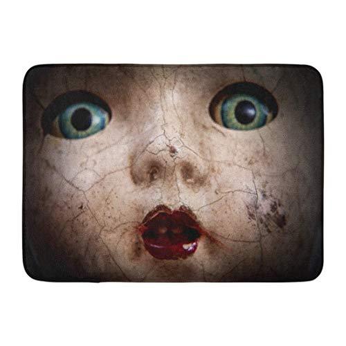 LIS HOME Fußmatten Bad Teppiche Outdoor/Indoor Fußmatte Horror Scary Cracked Old Doll Gesicht Shallow Focus Antique Halloween Missbrauch Badezimmer Dekor Teppich Badematte (Doll-gesicht Scary Halloween)