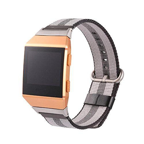 samLIKE Neue Version Sport Royal Woven Nylon Armband Band für Fitbit Ionic (Schwarz) (Fitbit Band Force Für)