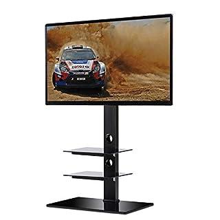 RFIVER TV LCD/LED/Plasma Fernseher Ständer Halterung Höhenverstellbar Kabelführung Tischständer mit Glas Regale für 32