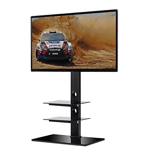 """RFIVER Furniture TV Ständer Standfuß fur 32"""" - 65"""" Zoll LCD/LED/Plasma Fernseher Fernsehtisch mit Halterung inkl. Kabelführung mit SchwarzGlas Regale max. 50kg"""