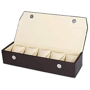Hard Craft Watch Box Storage Organizer Vegan Leather for 5 Watch Slot