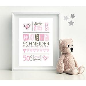 Geburtsbild • HERZCHEN Mädchen • Kinderzimmer Kunstdruck - 8 Farbvarianten zur Auswahl - personalisierte Drucke...