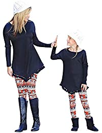 BaZhaHei-Navidad, Mamá & Me Mujeres Muñeco de Nieve Imprimir Pantalones Leggings Familiares Lápiz Ropa Madre e Hijo Visten Dama de Navidad…