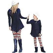 BaZhaHei-Navidad, Mamá & Me Mujeres Muñeco de Nieve Imprimir Pantalones Leggings Familiares Lápiz