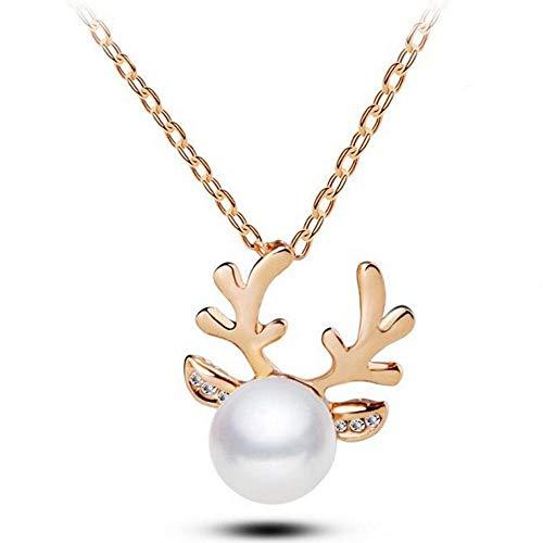 JMZDAW Halskette Anhänger Imitation Pearl Tierische Form Halskette Damen Halskette Weibliche Modelle Crystal Christmas Ornaments, EIN -