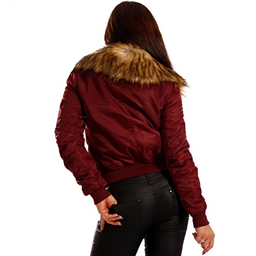 Young-Fashion - Blouson - Blouson - Uni - Manches Longues - Femme Rouge