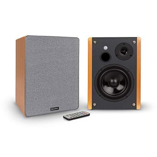 """AUNA Line 500 A - Paire Haut-parleurs Actifs, 2 x 60 W Max / 2 x 30 W RMS, woofer : 5"""" (12,5 cm), Tweeter : 1"""", 2 x 60 W Max. (2,5 cm), Bluetooth-Streaming, Port USB/SD pour MP3, Aspect Bois/Noir"""