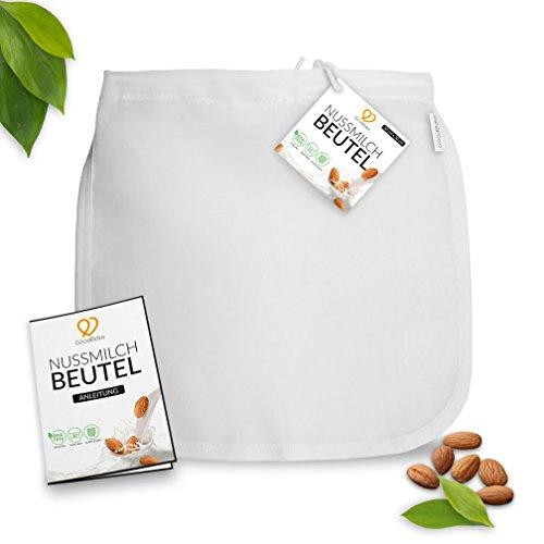 GoodBake Premium Nussmilchbeutel für vegane Mandelmilch, Haselnussmilch, feinmaschiges Passiertuch, Filtertuch für Smoothies & Kaffee (30x30cm)