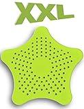 HOMETOOLS.EU® - XXL großes Silikon Abfluss-Sieb mit Saugnäpfen | für Küche Spüle Bad Wanne Dusche gegen Haare, Krümel | 15 x 15cm, grün
