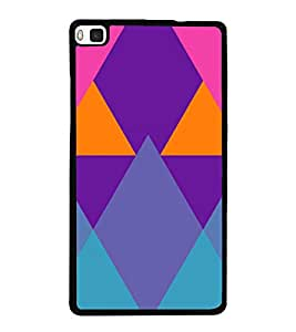 Colourful Rhombus Pattern 2D Hard Polycarbonate Designer Back Case Cover for Huawei P8