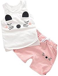 Bebé Niños Niñas Zolimx Ojos Impresión Tops Chaleco + Pantalones Cortos Trajes Conjunto de Ropa