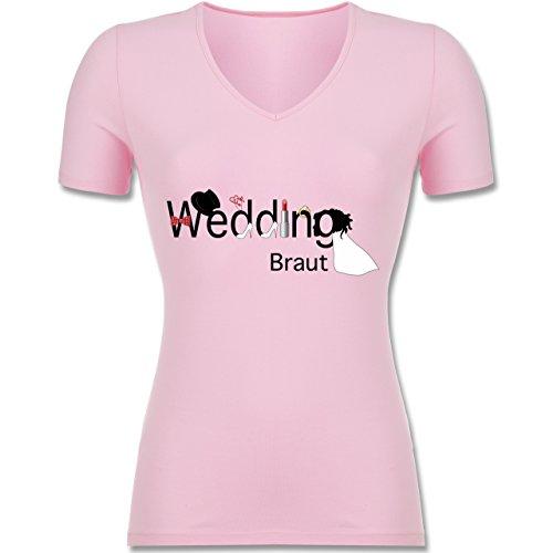 JGA Junggesellinnenabschied - Wedding Braut - L - Rosa - F281N - Tailliertes T-Shirt mit...